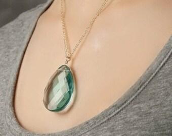 Large Blue Teardrop Pendant-Blue Quartz Briolette Necklace-Aquamarine Stone Pendant-Statement Necklace-Gift for Her