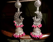 Indian ethnic jhumki..... oxidized silver with peacock motif handcrafted .