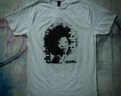 dublu. afro tshirt. White. Screen printed. Size medium