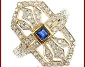 Vintage Art Deco Diamond and Sapphire 18ct gold Ring - US size 6 1/2