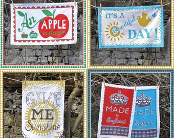 TWO 'Pintuck' Cotton Teatowels.