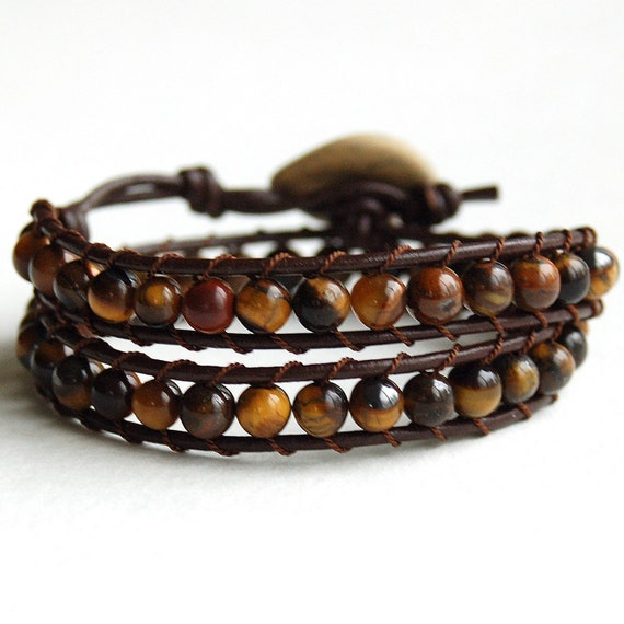 Double Wrap Leather and Tiger Eye Bracelet