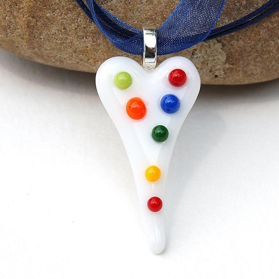 Fused Glass Polka Dot Heart Pendant
