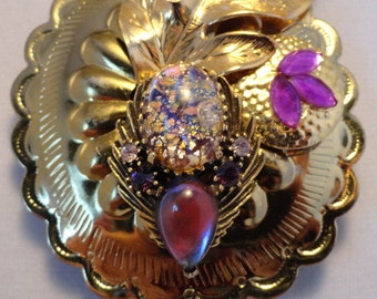 JULIANA STYLE BOLA Slide Necklace on Western String Tie Lariat Gold Tone Easter Egg Cowgirl Elegance Purple Stones Altered Art
