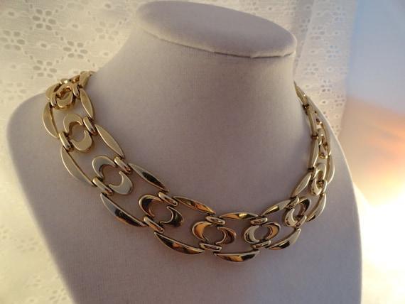 Large Links Choker  Modernist Necklace Vintage Monet