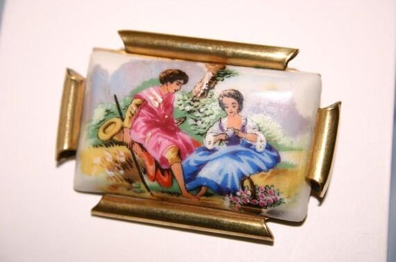 Antique (1900s) Porcelain Hand Painted Pastoral Lovers Limoges Brooch