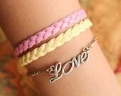 LOVE bracelet,retro silver little love letters pendant alloy bracelet,yellow and pink leather braid bracelet---B056