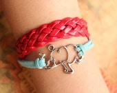 elephant bracelet,retro silver elephant pendant bracelet,red leather braid bracelet---B062