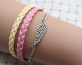 wing bracelet,retro silver little wing pendant alloy bracelet,yellow and pink leather braid bracelet---B071