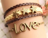 LOVE bracelet,retro bronze love letters with starfish bead,alloy bracelet,yellow and brown leather braid bracelet---B096