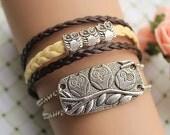 OWL bracelet,retro silver super cute owl bead bracelet,yellow and brown leather braid bracelet---B102