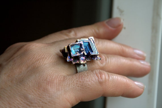 Bismuth Crystal Ring Beautiful Iridescent Colors