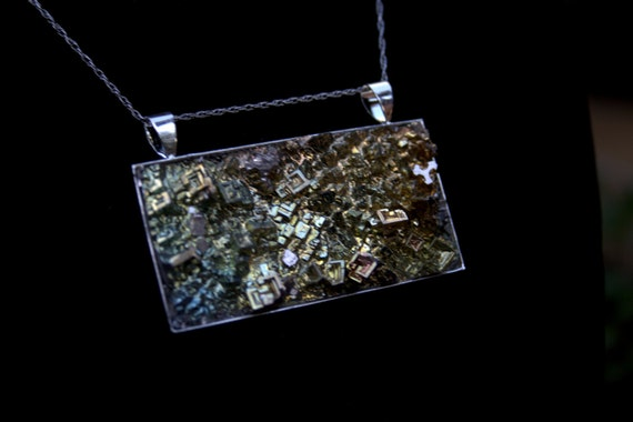 Bismuth Crystal Pendant, Beautiful Iridescent crystal in a sterling silver plated base.