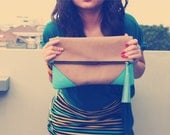 Oversized Suede Leather Clutch in Aqua Blue