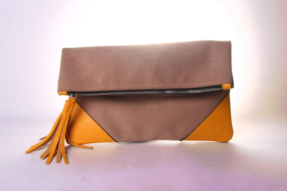 Oversized Suede Leather Clutch in Mustard
