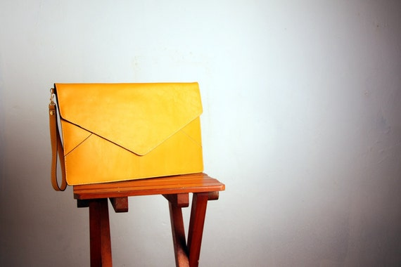 Leather Oversize Envelope Clutch in Mustard Yellow