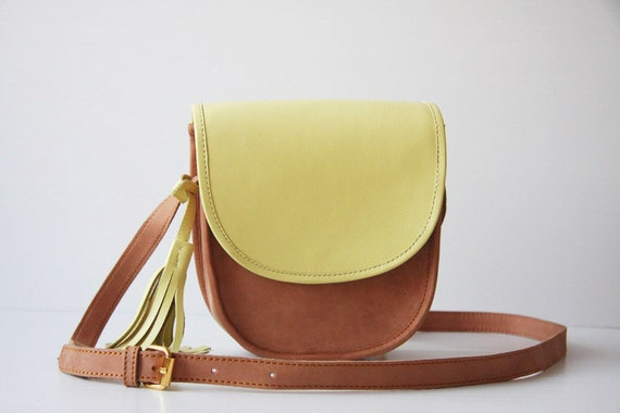 LIME - Cross Body Leather Bag in Nude and Pale Lime Yellow