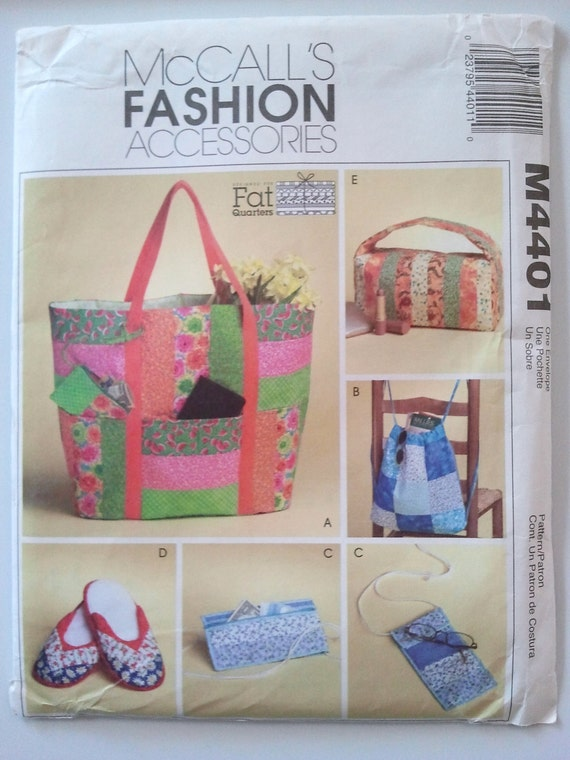 McCalls M4401, Fat Quarters Bags and Travel Accessories, Totes, Slippers, Backpack