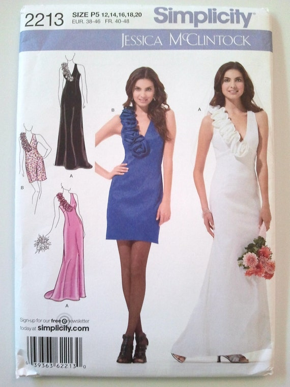 Simplicity 2213, Jessica McClintock Evening Gown or Dress, Size 12, 14, 16, 18,  20