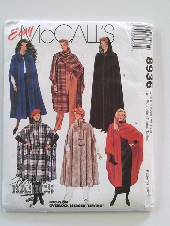 McCall's 8936, Misses' Capes, Size 6, 8, 10, 12, 14, 16, 18, 20