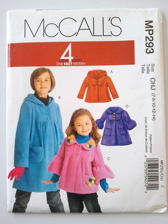 McCalls 293, Childrens and Girls Jackets and Coats, Size 7, 8, 10, 12, 14