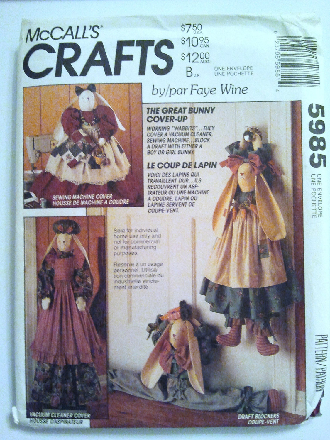 McCall's 5985 Bunny Cover Ups by Faye Wine Sewing