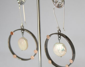 Sterling Silver Open Circle Earrings with Coin Pearl Drop. Charming Dangle Earrings
