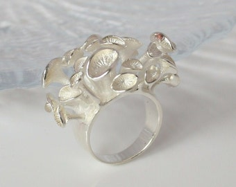 Eco Conscious Design Sea Anemone Ring. Handmade Sterling Silver Creative Style of  Sea Anemone Ring.