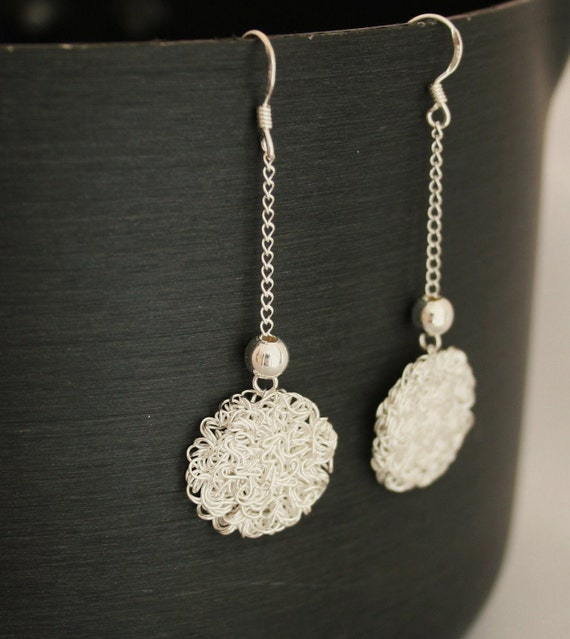 Handmade Sterling Silver Thin Circle Wire Dangle Earrings, Simple and Elegant Design Earrings