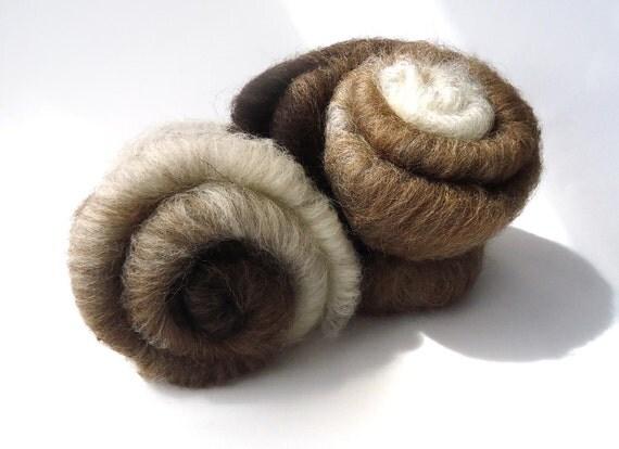 Shetland Batt  - Blended - 100g - 3.5oz - Black - Grey - Moorit - White - Spinning - Felting - rare breed