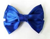 Large Royal Blue Satin Ribbon Bow Hair Clip