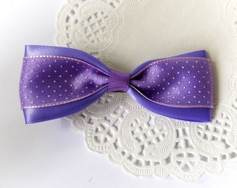 SALE 50% OFF Ligh Purple Lavender Satin cover with Polka dots Organza Ribbon Bow Hair Clip