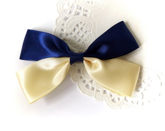 SALE 50% OFF Navy Blue and Pale Yellow Satin Ribbon Bow Hair Clip