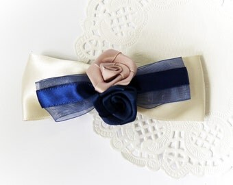 SALE 50% OFF White Satin Ribbon Bow with Navy Blue abd Dirty Pink Rose Hair Clip Hair Accessories