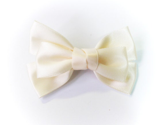 SALE 50% OFF Small Ivory Satin Ribbon Bow Hair Clip