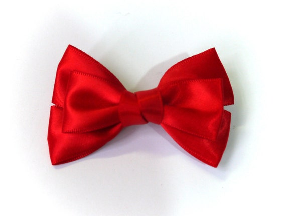 SALE 50% OFF Small Red Satin Ribbon Bow Hair Clip