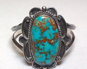 Large natural turqouise sterling silver cuff bracelet. Circa 1970's