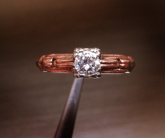 Vintage / Antique Diamond Solitaire Ring - 14K rose gold. Size: 6