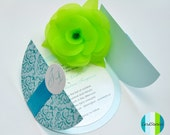 Turquoise Damask Wedding Invitations