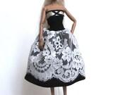 barbie misaky dress - black and white romantic dress whit lace