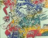 "Balinese Batik Painting ""Legong Dance"" 45X75 cm"