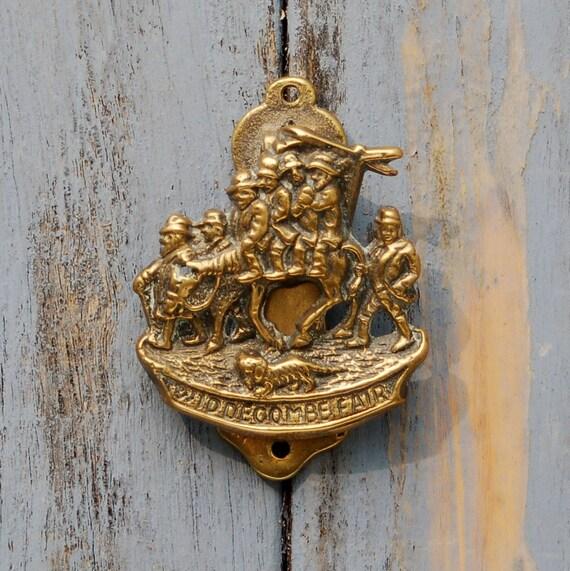 Antique Widdecombe Fair Door Knocker Old Gray Mare Brass