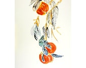 Asian inspired art Peaches  ORIGINAL  Watercolor painting by Eva Forest