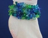 Beaded Girls' Socks - Blue & Green Ombre Tri Beads