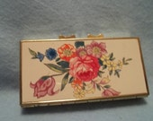Vintage Metal Floral Travel Pill Box