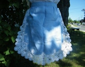 Vintage Handmade Linen Apron Blue with Hand Sewn Lace Trim  1950's