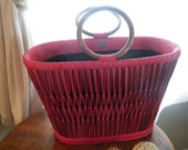 Red Straw  Bucket Style Handbag Tote M for Majunga of Madagascar.  Wood Handles.