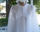 Luxurious Peignoir Set by, Gossard Artemis.  1960's, Bridal White Negligee, Lace Trim, size small 2 piece.
