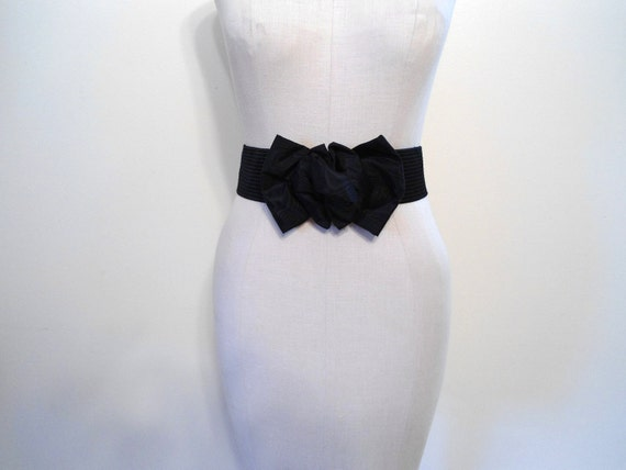 Black Satin Elastic Belt with Gross Grain Ribbon Bow