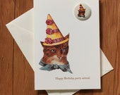 """Happy Birthday Party Animal Cat & Matching Pin - """"Happy Birthday"""" Greeting Card with 1.25"""" Button Pin"""